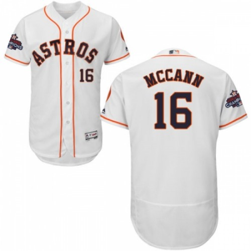 Men's Majestic Houston Astros #16 Brian McCann Authentic White Home 2017 World Series Champions Flex Base MLB Jersey