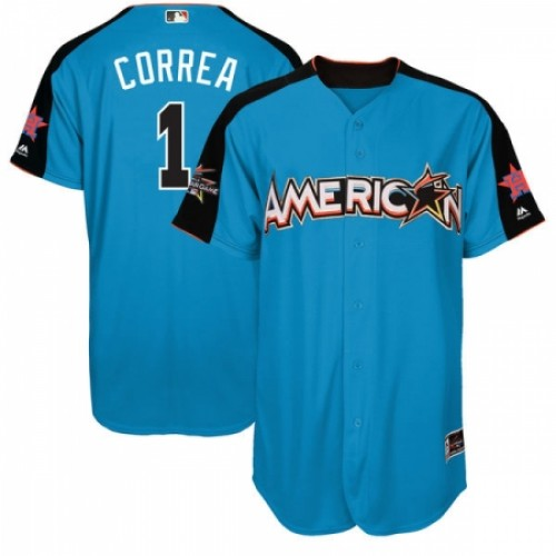 Men's Majestic Houston Astros #1 Carlos Correa Replica Blue American League 2017 MLB All-Star MLB Jersey