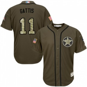 Men's Majestic Houston Astros #11 Evan Gattis Authentic Green Salute to Service MLB Jersey