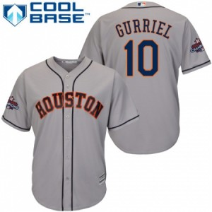 Men's Majestic Houston Astros #10 Yuli Gurriel Replica Grey Road 2017 World Series Champions Cool Base MLB Jersey