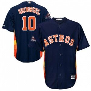 Men's Majestic Houston Astros #10 Yuli Gurriel Replica Navy Blue Alternate 2017 World Series Champions Cool Base MLB Jersey