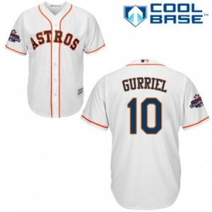 Men's Majestic Houston Astros #10 Yuli Gurriel Replica White Home 2017 World Series Champions Cool Base MLB Jersey