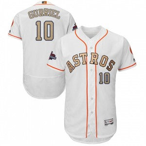 Men's Majestic Houston Astros #10 Yuli Gurriel White 2018 Gold Program Flex Base Authentic Collection MLB Jersey